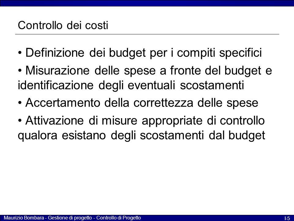 Maurizio Bombara - Gestione di progetto - Controllo di Progetto I-5 Controllo dei costi Definizione dei budget per i compiti specifici Misurazione del
