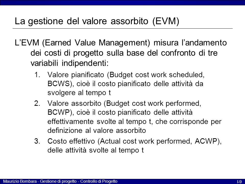 Maurizio Bombara - Gestione di progetto - Controllo di Progetto I-9 La gestione del valore assorbito (EVM) L'EVM (Earned Value Management) misura l'andamento dei costi di progetto sulla base del confronto di tre variabili indipendenti: 1.Valore pianificato (Budget cost work scheduled, BCWS), cioè il costo pianificato delle attività da svolgere al tempo t 2.Valore assorbito (Budget cost work performed, BCWP), cioè il costo pianificato delle attività effettivamente svolte al tempo t, che corrisponde per definizione al valore assorbito 3.Costo effettivo (Actual cost work performed, ACWP), delle attività svolte al tempo t