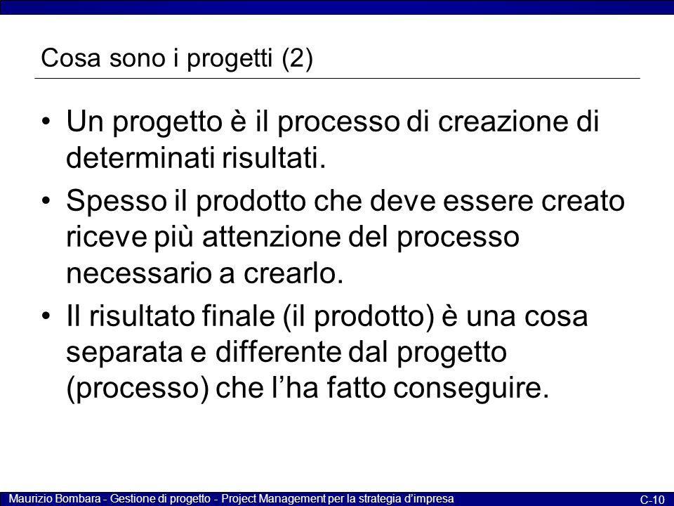 Maurizio Bombara - Gestione di progetto - Project Management per la strategia d'impresa C-10 Cosa sono i progetti (2) Un progetto è il processo di cre