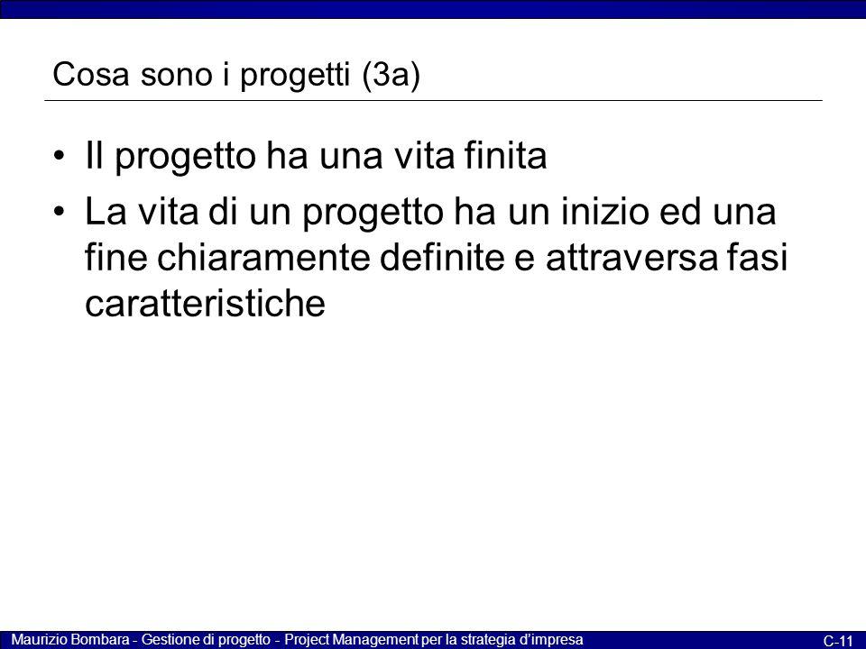 Maurizio Bombara - Gestione di progetto - Project Management per la strategia d'impresa C-11 Cosa sono i progetti (3a) Il progetto ha una vita finita