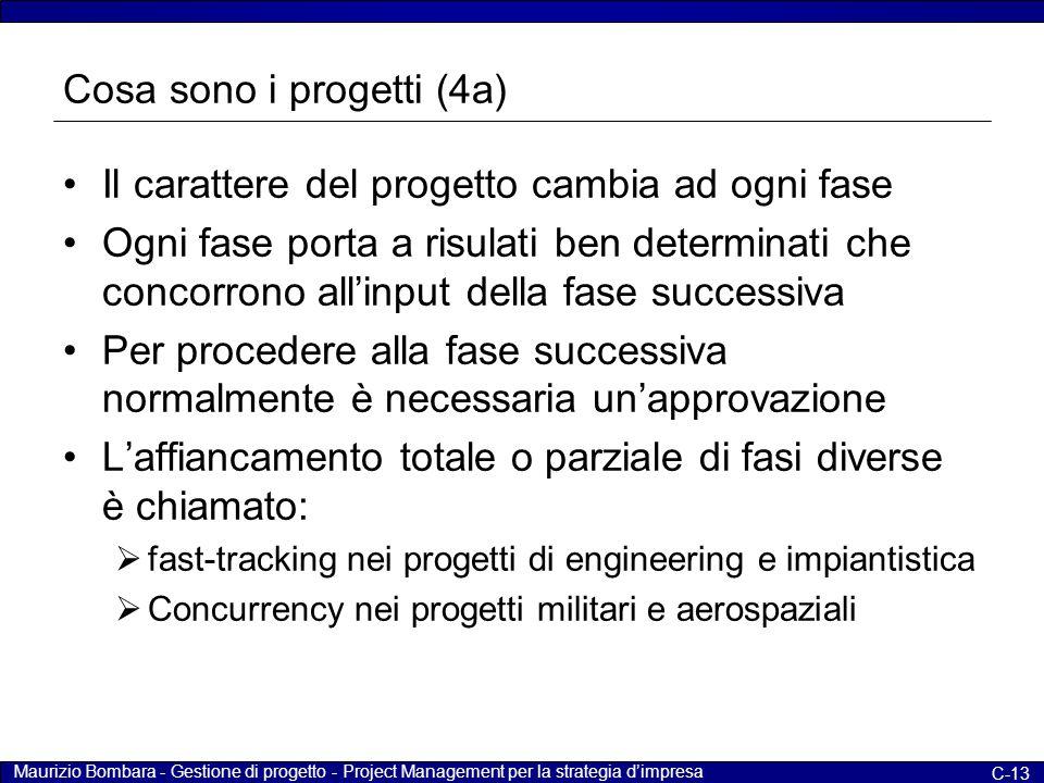 Maurizio Bombara - Gestione di progetto - Project Management per la strategia d'impresa C-13 Cosa sono i progetti (4a) Il carattere del progetto cambi