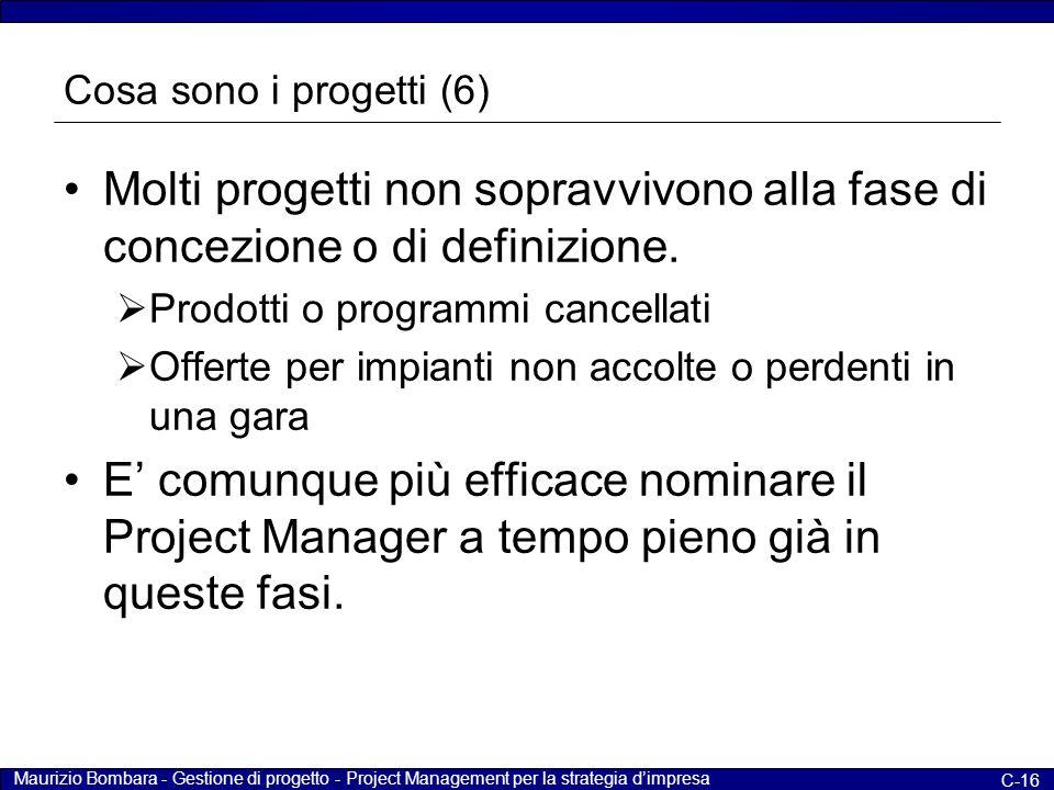 Maurizio Bombara - Gestione di progetto - Project Management per la strategia d'impresa C-16 Cosa sono i progetti (6) Molti progetti non sopravvivono