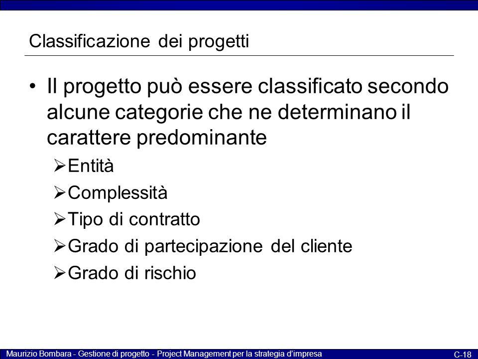 Maurizio Bombara - Gestione di progetto - Project Management per la strategia d'impresa C-18 Classificazione dei progetti Il progetto può essere class
