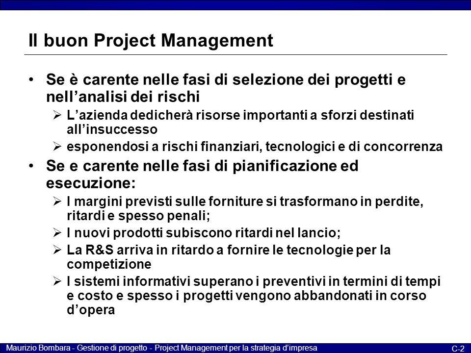 Maurizio Bombara - Gestione di progetto - Project Management per la strategia d'impresa C-2 Il buon Project Management Se è carente nelle fasi di sele