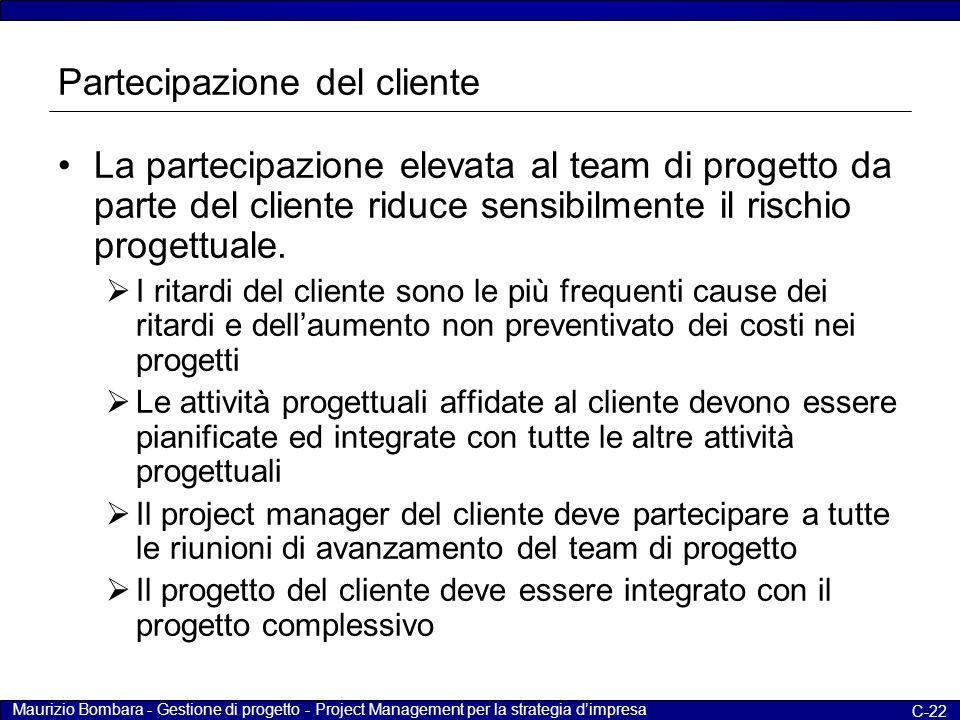 Maurizio Bombara - Gestione di progetto - Project Management per la strategia d'impresa C-22 Partecipazione del cliente La partecipazione elevata al t