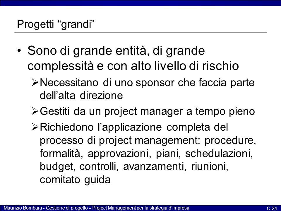 """Maurizio Bombara - Gestione di progetto - Project Management per la strategia d'impresa C-24 Progetti """"grandi"""" Sono di grande entità, di grande comple"""