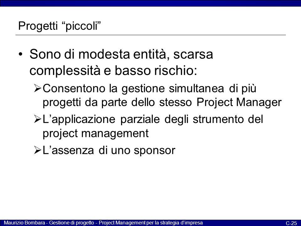 """Maurizio Bombara - Gestione di progetto - Project Management per la strategia d'impresa C-25 Progetti """"piccoli"""" Sono di modesta entità, scarsa comples"""