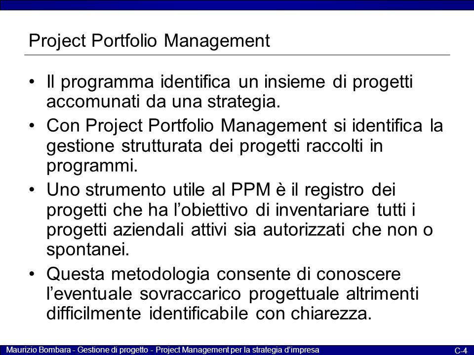 Maurizio Bombara - Gestione di progetto - Project Management per la strategia d'impresa C-15 Cosa sono i progetti (5) L'incertezza per i tempi ed i costi complessivi diminuisce man mano che il progetto procede