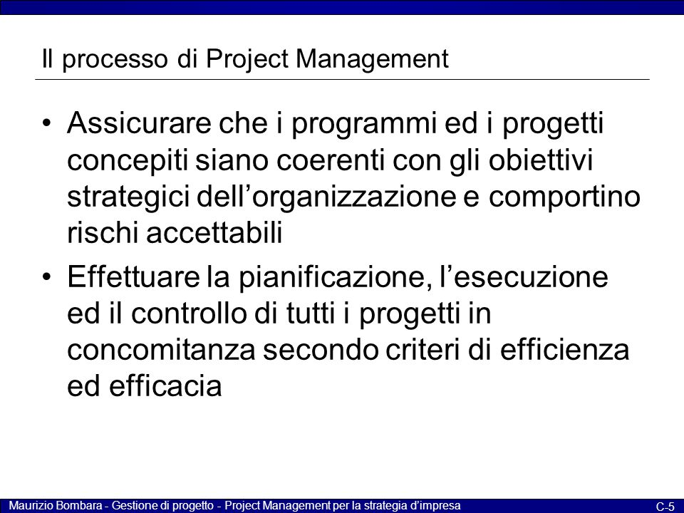 Maurizio Bombara - Gestione di progetto - Project Management per la strategia d'impresa C-5 Il processo di Project Management Assicurare che i program