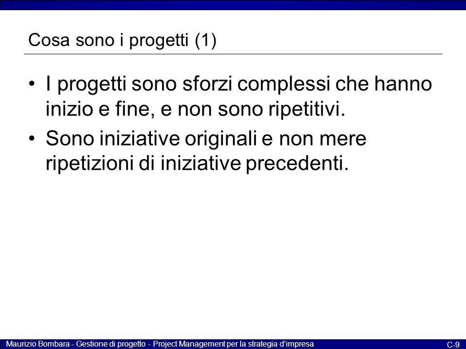 Maurizio Bombara - Gestione di progetto - Project Management per la strategia d'impresa C-9 Cosa sono i progetti (1) I progetti sono sforzi complessi