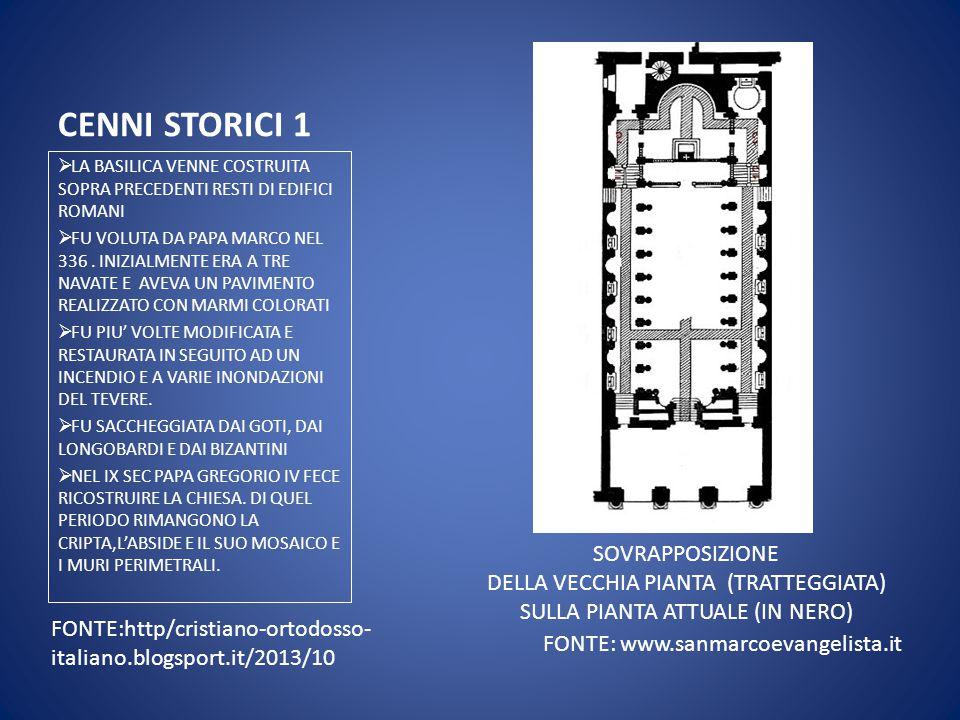 CENNI STORICI 1  LA BASILICA VENNE COSTRUITA SOPRA PRECEDENTI RESTI DI EDIFICI ROMANI  FU VOLUTA DA PAPA MARCO NEL 336. INIZIALMENTE ERA A TRE NAVAT