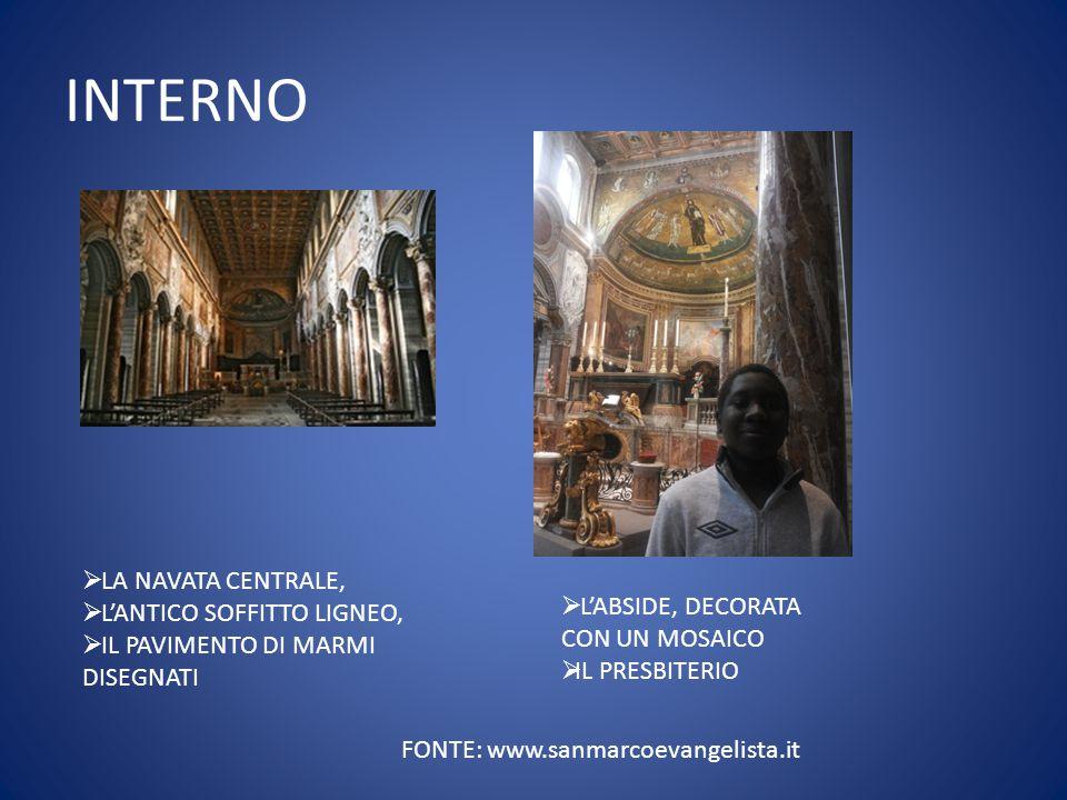 INTERNO FONTE: www.sanmarcoevangelista.it  LA NAVATA CENTRALE,  L'ANTICO SOFFITTO LIGNEO,  IL PAVIMENTO DI MARMI DISEGNATI  L'ABSIDE, DECORATA CON