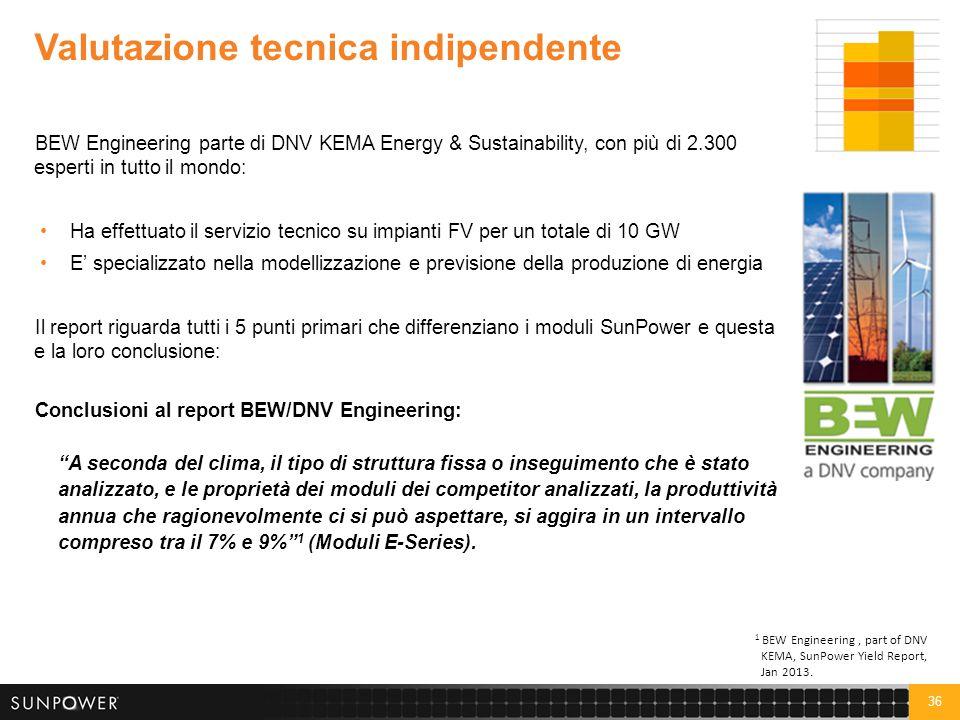 36 Valutazione tecnica indipendente BEW Engineering parte di DNV KEMA Energy & Sustainability, con più di 2.300 esperti in tutto il mondo: Ha effettua