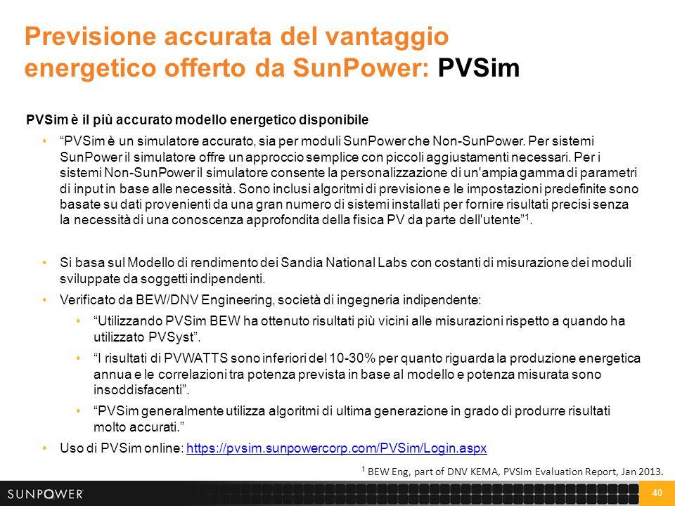 """40 Previsione accurata del vantaggio energetico offerto da SunPower: PVSim PVSim è il più accurato modello energetico disponibile """"PVSim è un simulato"""