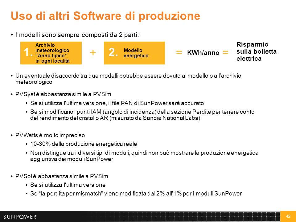 """42 Uso di altri Software di produzione I modelli sono sempre composti da 2 parti: Archivio meteorologico """"Anno tipico"""" in ogni località 1. Modello ene"""