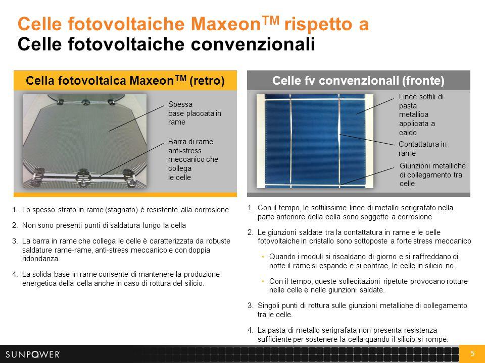 6 Moduli fotovoltaici convenzionali a efficienza standard Celle ad efficienza standard danneggiate nel campo I moduli convenzionali normalmente si guastano per gli sbalzi di temperatura caldo/freddo, che con il tempo danneggiano celle fotovoltaiche, giunzioni saldate e contattatura in rame.