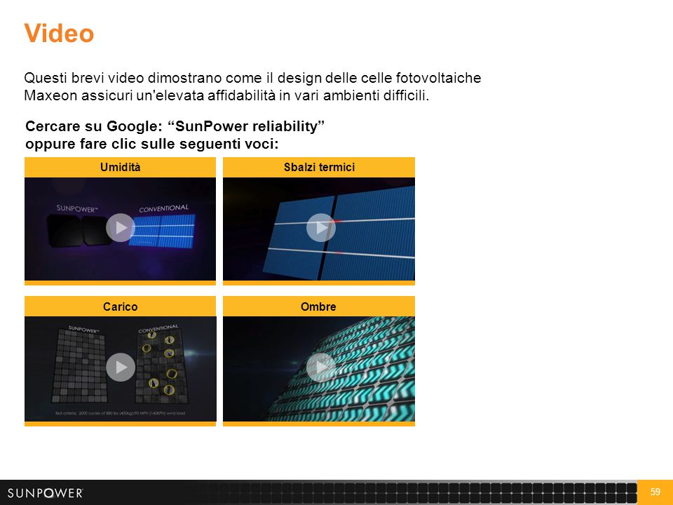 59 Video Questi brevi video dimostrano come il design delle celle fotovoltaiche Maxeon assicuri un'elevata affidabilità in vari ambienti difficili. Ce