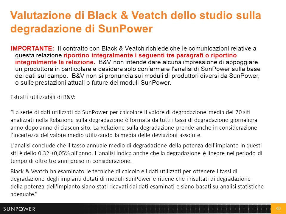 63 IMPORTANTE: Il contratto con Black & Veatch richiede che le comunicazioni relative a questa relazione riportino integralmente i seguenti tre paragr