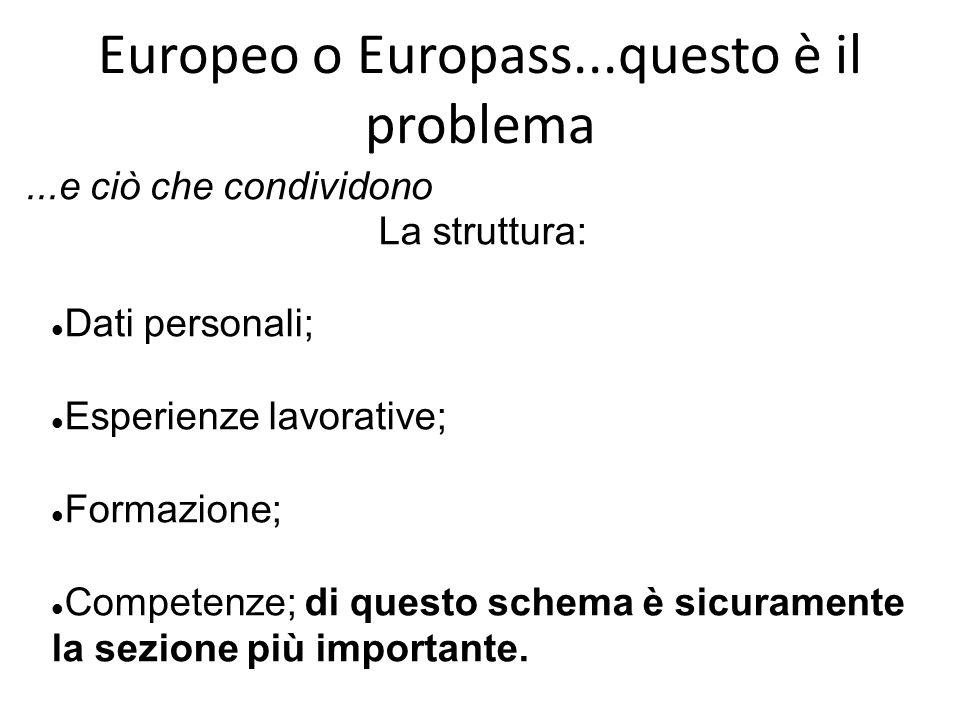 Europeo o Europass...questo è il problema La struttura: Dati personali; Esperienze lavorative; Formazione; Competenze; di questo schema è sicuramente