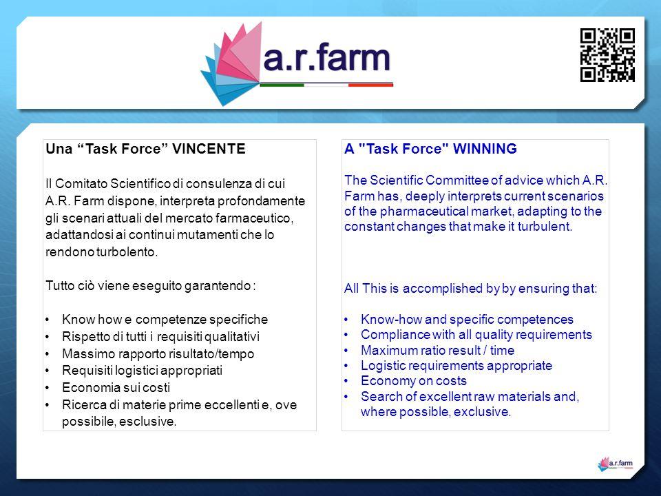 """Una """"Task Force"""" VINCENTE Il Comitato Scientifico di consulenza di cui A.R. Farm dispone, interpreta profondamente gli scenari attuali del mercato far"""