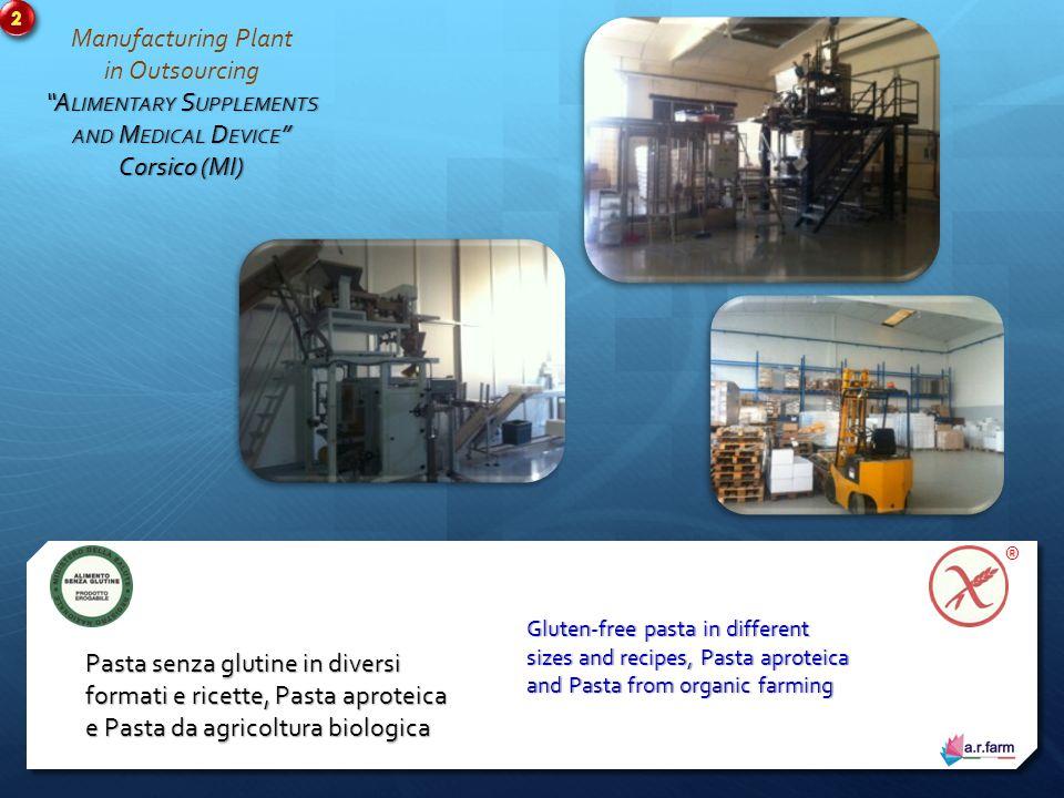 Manufacturing Plant in Outsourcing A LIMENTARY S UPPLEMENTS AND M EDICAL D EVICE Corsico (MI) Prodotti da banco - Metax - IPO/Aproteici - Senza glutine - Aminoacidi - Nutraceutica - Disfagia OTC products - Metax - IPO/Aproteici - Gluten free - Amino Acids - Nutraceuticals - Dysphagia