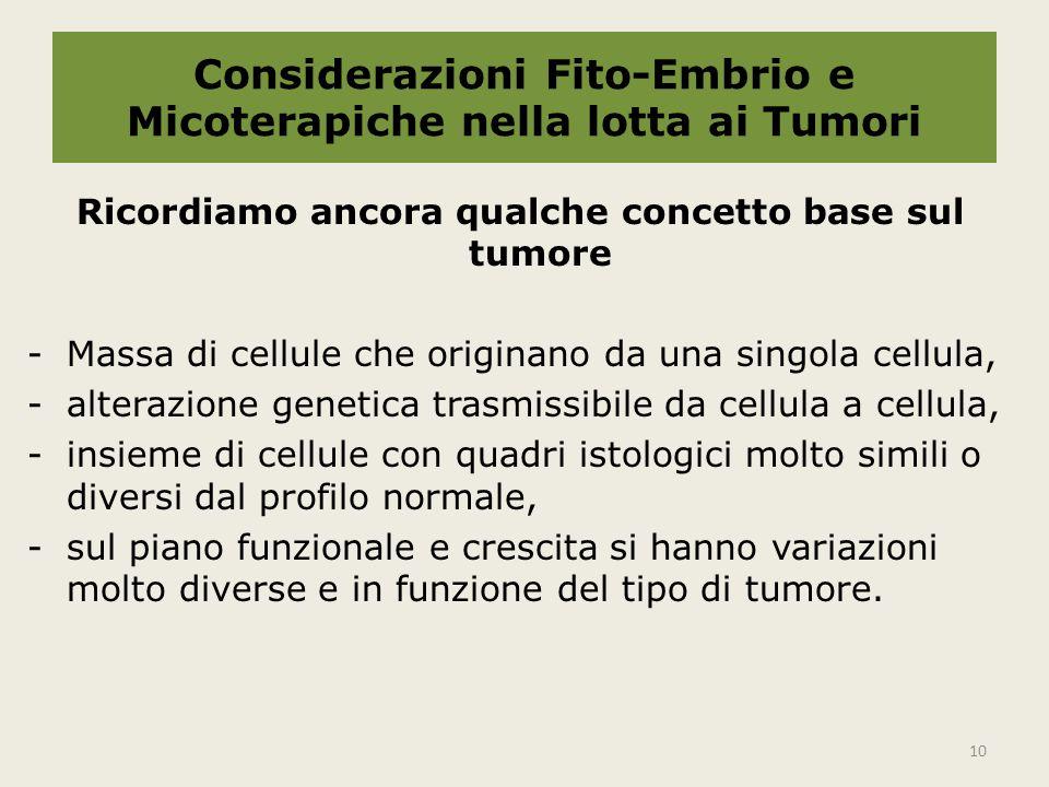 Considerazioni Fito-Embrio e Micoterapiche nella lotta ai Tumori Ricordiamo ancora qualche concetto base sul tumore -Massa di cellule che originano da