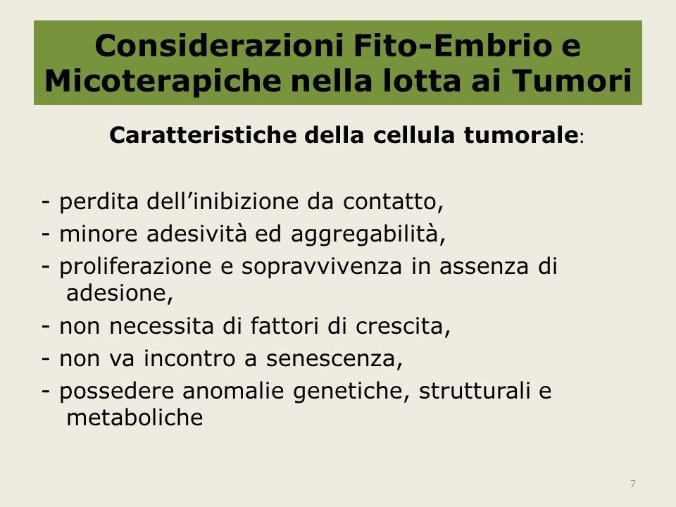 Considerazioni Fito-Embrio e Micoterapiche nella lotta ai Tumori Caratteristiche della cellula tumorale : - perdita dell'inibizione da contatto, - minore adesività ed aggregabilità, - proliferazione e sopravvivenza in assenza di adesione, - non necessita di fattori di crescita, - non va incontro a senescenza, - possedere anomalie genetiche, strutturali e metaboliche 7