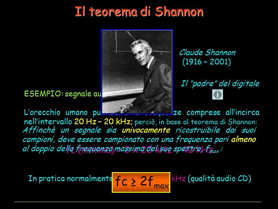 Il teorema di Shannon ESEMPIO: segnale audio musicale L'orecchio umano può udire le frequenze comprese all'incirca nell'intervallo 20 Hz – 20 kHz; perciò, in base al teorema di Shannon: fc (minima) = 2 x 20 kHz = 40 kHz In pratica normalmente si usa fc = 44.1 kHz (qualità audio CD) Affinchè un segnale sia univocamente ricostruibile dai suoi campioni, deve essere campionato con una frequenza pari almeno al doppio della frequenza massima del suo spettro, f max : fc ≥ 2f max Claude Shannon (1916 – 2001) Il padre del digitale