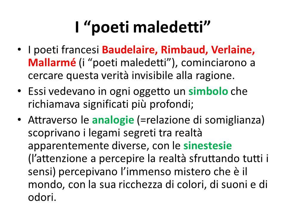"""I """"poeti maledetti"""" I poeti francesi Baudelaire, Rimbaud, Verlaine, Mallarmé (i """"poeti maledetti""""), cominciarono a cercare questa verità invisibile al"""