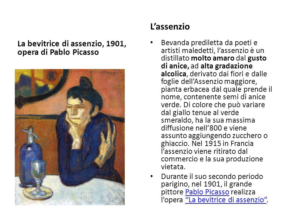 La bevitrice di assenzio, 1901, opera di Pablo Picasso L'assenzio Bevanda prediletta da poeti e artisti maledetti, l'assenzio è un distillato molto am