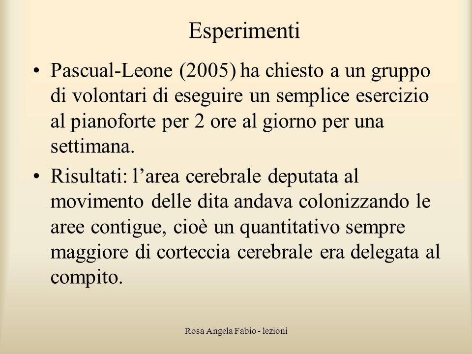 Rosa Angela Fabio - lezioni Esperimenti Pascual-Leone (2005) ha chiesto a un gruppo di volontari di eseguire un semplice esercizio al pianoforte per 2