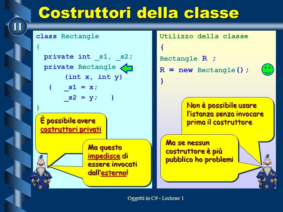 11 Oggetti in C# - Lezione 1 Costruttori della classe class Rectangle { private int _s1, _s2; private Rectangle (int x, int y) { _s1 = x; _s2 = y; } } Utilizzo della classe { Rectangle R ; R = new Rectangle (); } È possibile avere costruttori privati Ma questo impedisce di essere invocati dall'esterno.