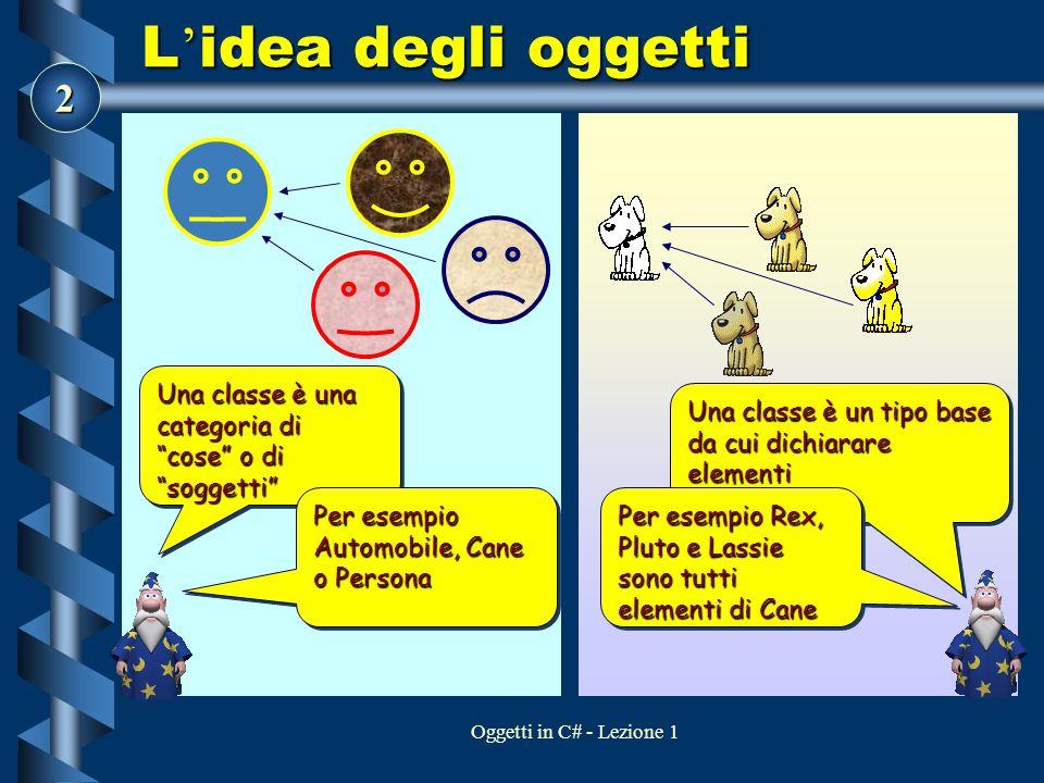 """2 Oggetti in C# - Lezione 1 L ' idea degli oggetti Una classe è una categoria di """"cose"""" o di """"soggetti"""" Per esempio Automobile, Cane o Persona Una cla"""