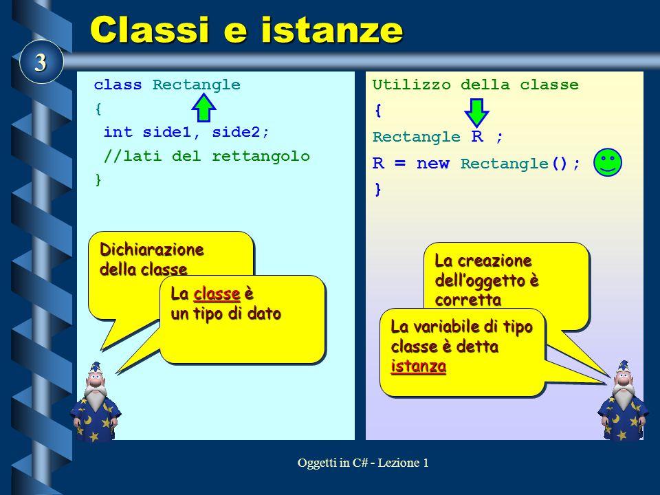 3 Oggetti in C# - Lezione 1 Classi e istanze class Rectangle { int side1, side2; //lati del rettangolo } Utilizzo della classe { Rectangle R ; R = new