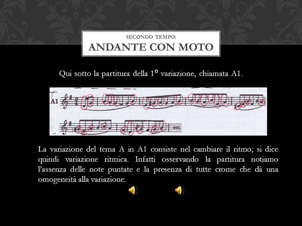 Qui sotto la partitura della 1° variazione, chiamata A1. SECONDO TEMPO: ANDANTE CON MOTO La variazione del tema A in A1 consiste nel cambiare il ritmo