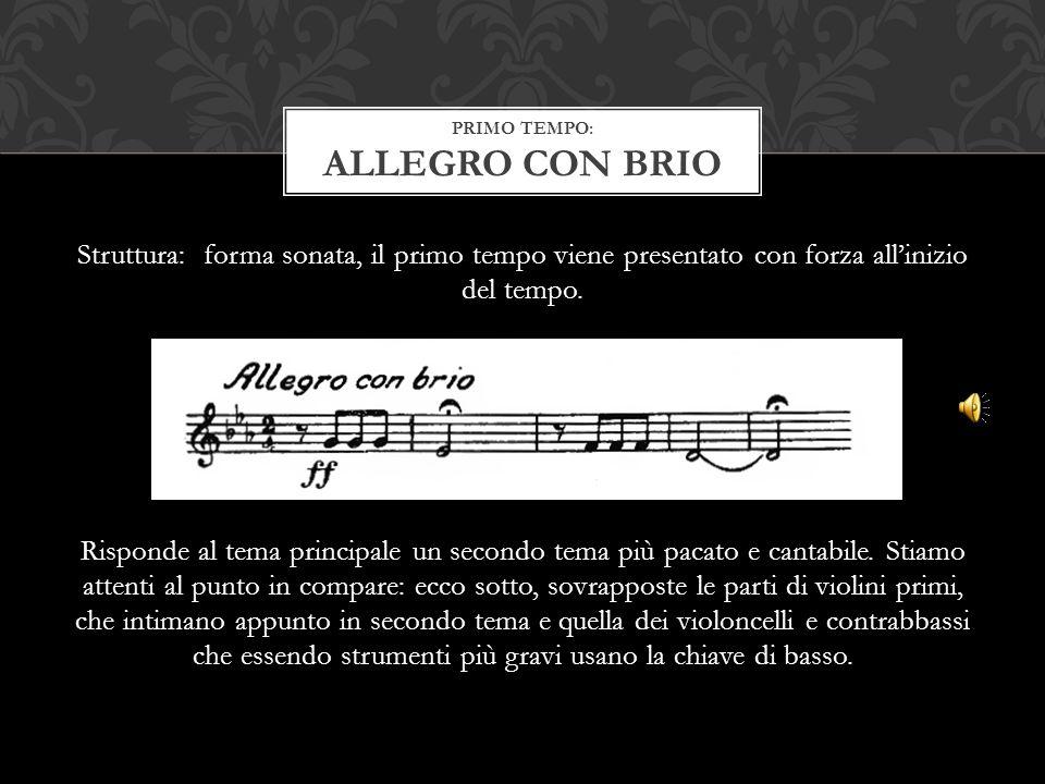 Struttura: forma sonata, il primo tempo viene presentato con forza all'inizio del tempo. Risponde al tema principale un secondo tema più pacato e cant