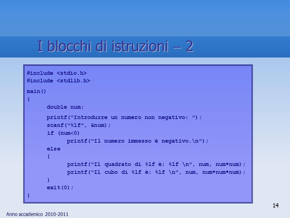 Anno accademico 2010-2011  include main() { double num; printf( Introdurre un numero non negativo: ); scanf( %lf , &num); if (num  0) printf( Il numero immesso è negativo.\n ); else { printf( Il quadrato di %lf è: %lf \n , num, num  num); printf( Il cubo di %lf è: %lf \n , num, num  num  num); } exit(0); } 14 I blocchi di istruzioni  2