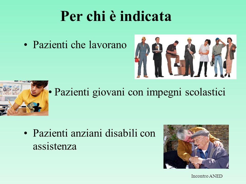 Per chi è indicata Pazienti che lavorano Pazienti giovani con impegni scolastici Pazienti anziani disabili con assistenza Incontro ANED
