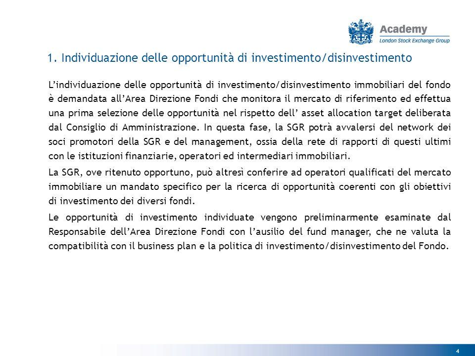 4 1. Individuazione delle opportunità di investimento/disinvestimento L'individuazione delle opportunità di investimento/disinvestimento immobiliari d
