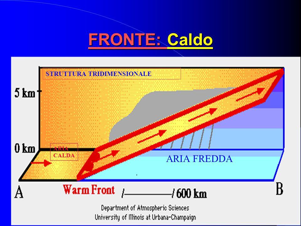  Aria calda invade zona occupata da aria fredda  Aria calda e umida dietro al fronte  Rappresentato con una linea rossa con semicerchi diretti nell