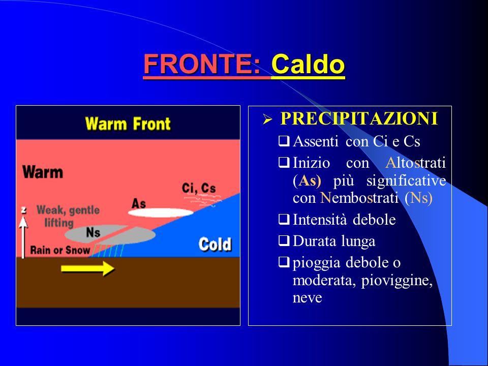 FRONTE: Caldo VentoRotazione da SSE a SSW TemperaturaGraduale aumento PressioneDiminuzione prima del fronte e poi rimane costante Umidità relativa Pri