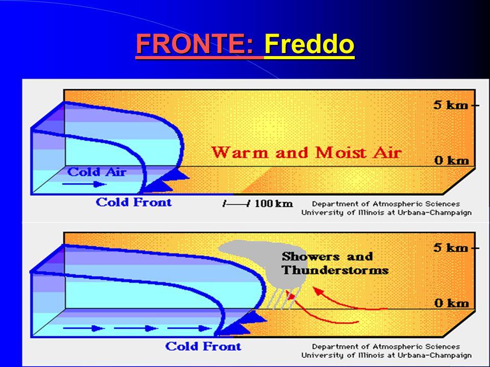  Aria fredda invade zona occupata da aria calda  Aria più fredda e secca dietro al fronte  Rappresentato con una linea blu con triangolini diretti
