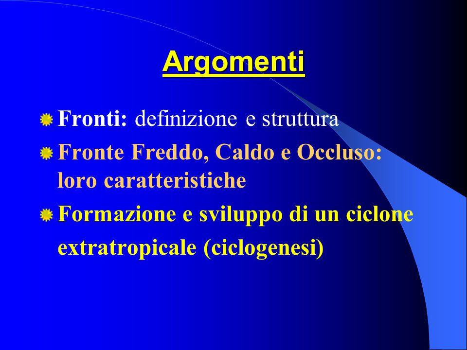 Argomenti Fronti: definizione e struttura Fronte Freddo, Caldo e Occluso: loro caratteristiche Formazione e sviluppo di un ciclone extratropicale (ciclogenesi)