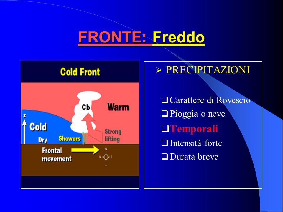 FRONTE: Freddo Vento Rotazione da SW a NW fino a NE Forte intensità con raffiche e turbolenza TemperaturaDiminuzione rapida PressioneDiminuisce davant