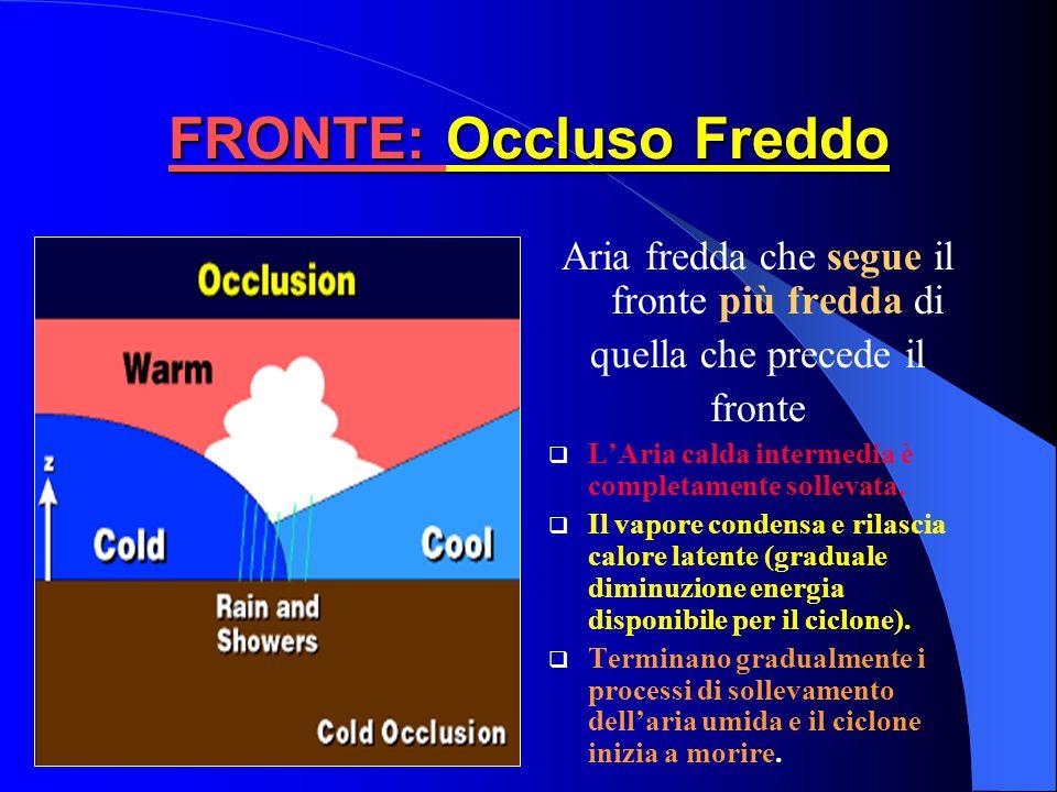 FRONTE: Occluso Caldo Aria fredda che segue il fronte meno fredda di quella che precede il fronte.  L'Aria calda intermedia è completamente sollevata