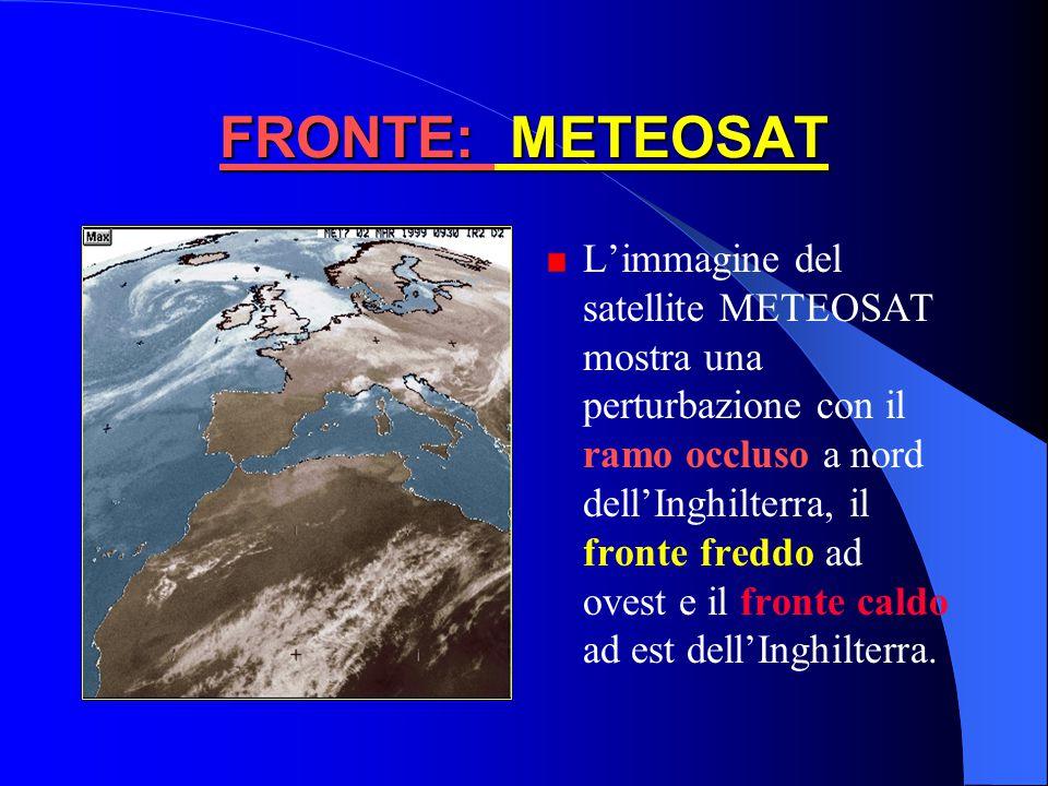Diminuzione della pressione, Aumento della temperatura, Ci in cielo, seguiti da Cs, As e Ns con conseguente pioggia a carattere continuo e intenso Tem