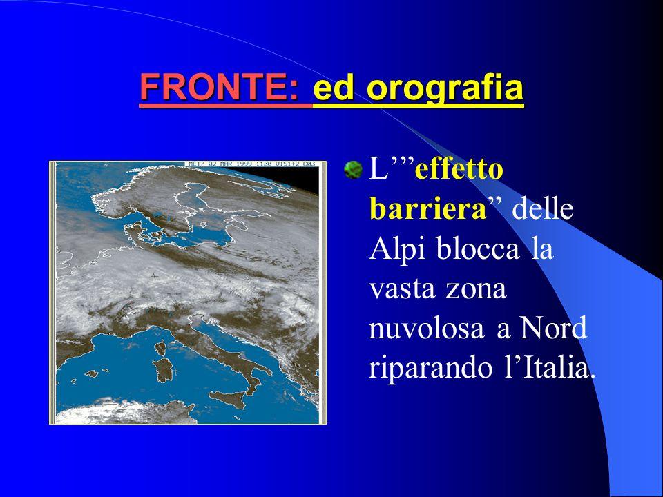 La perturbazione tende ad occludersi. Le Alpi contribuisco a riparare l'Italia dagli effetti della perturbazione, come mostrato in dettaglio nella suc