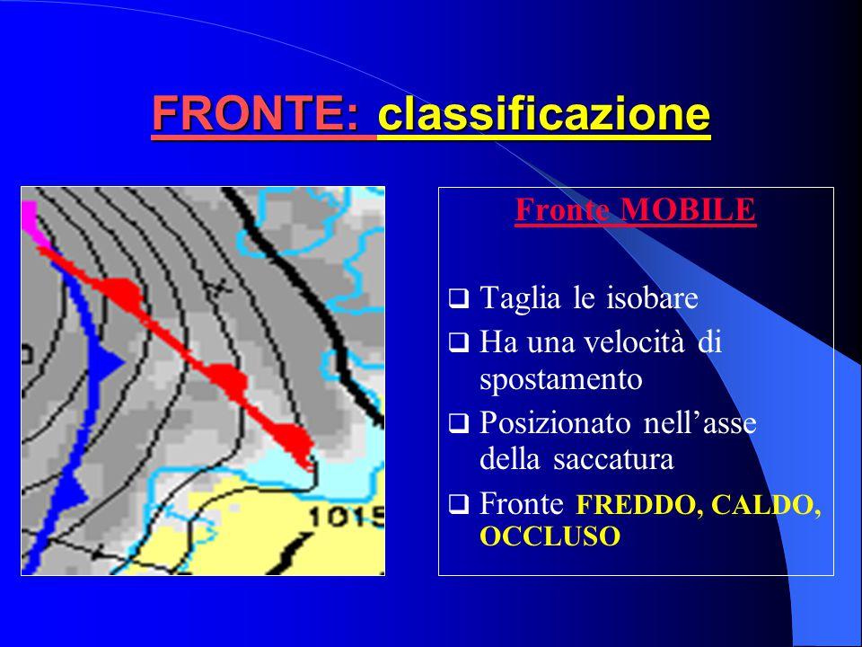  Aria fredda invade zona occupata da aria calda  Aria più fredda e secca dietro al fronte  Rappresentato con una linea blu con triangolini diretti nella direzione di spostamento del fronte FRONTE: Freddo