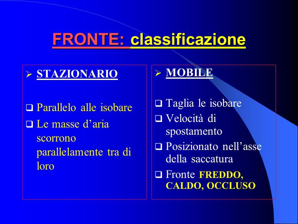 CICLOGENESI Fronte stazionario  Ondulazione F.P Formazione fronti Fronte occluso e progressivo fine del processo