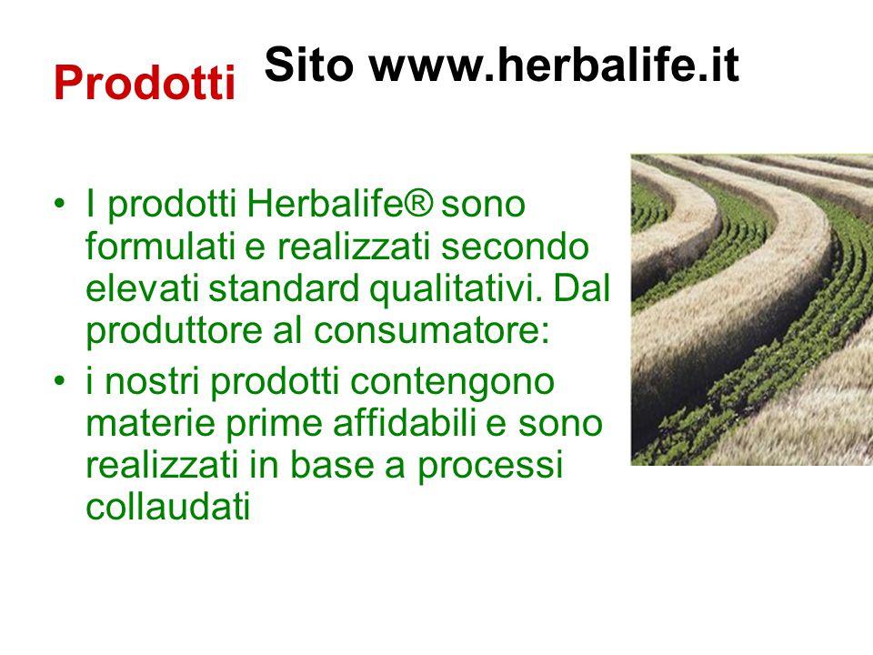 Prodotti I prodotti Herbalife® sono formulati e realizzati secondo elevati standard qualitativi.